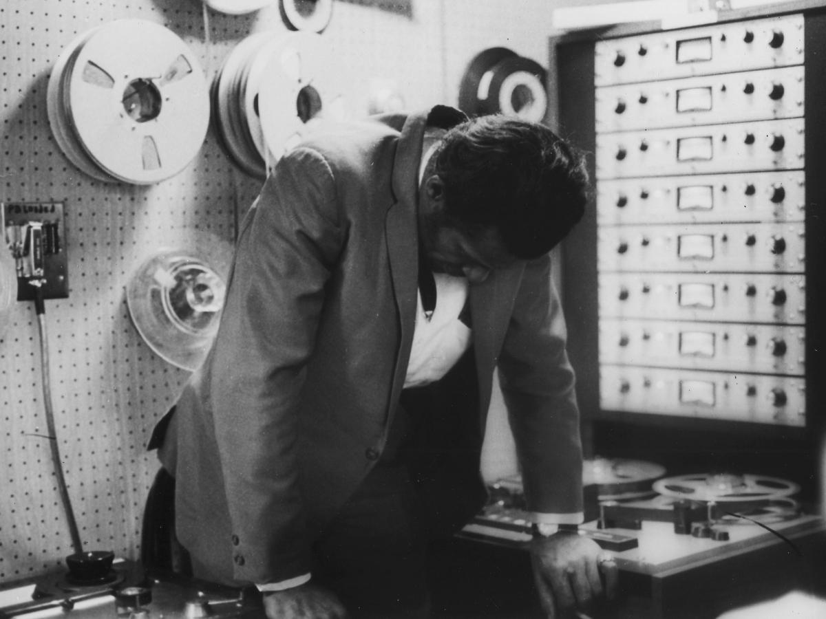 Chuck Berry in the Chess Records recording studio. The New York Times reports that originals of Berry's Chess catalog were burned in the 2008 Universal fire.