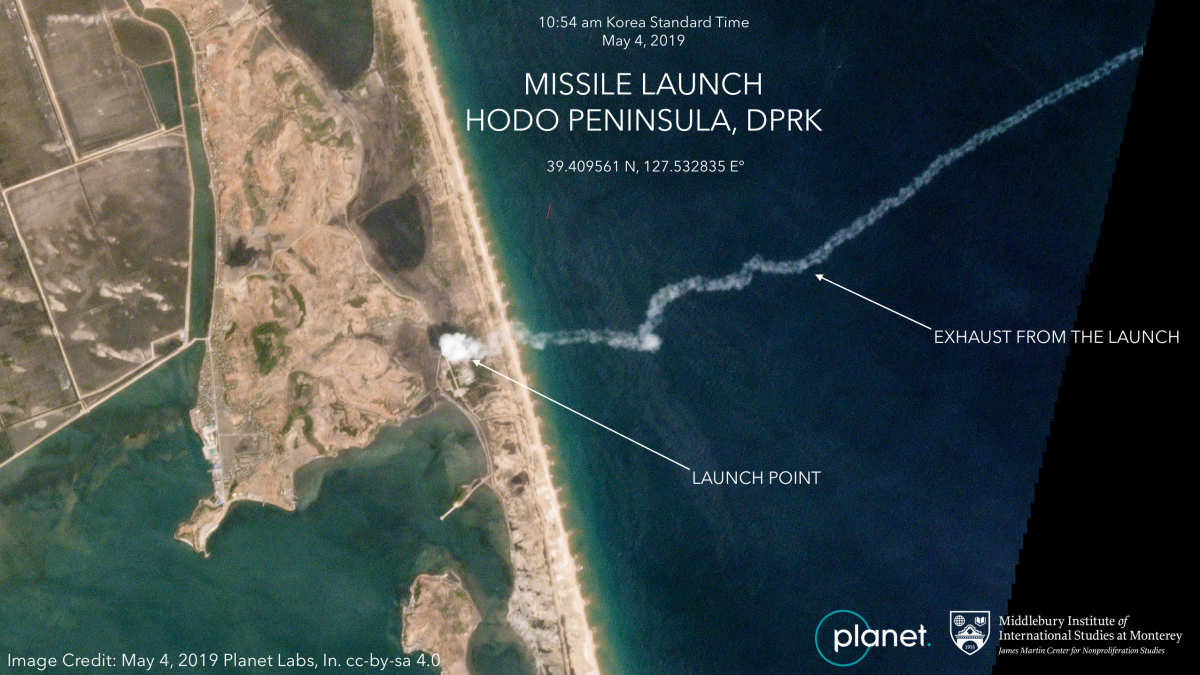 A satellite image from Planet Labs, a private satellite company, shows the exhaust from a North Korean missile test on May 4, 2019.