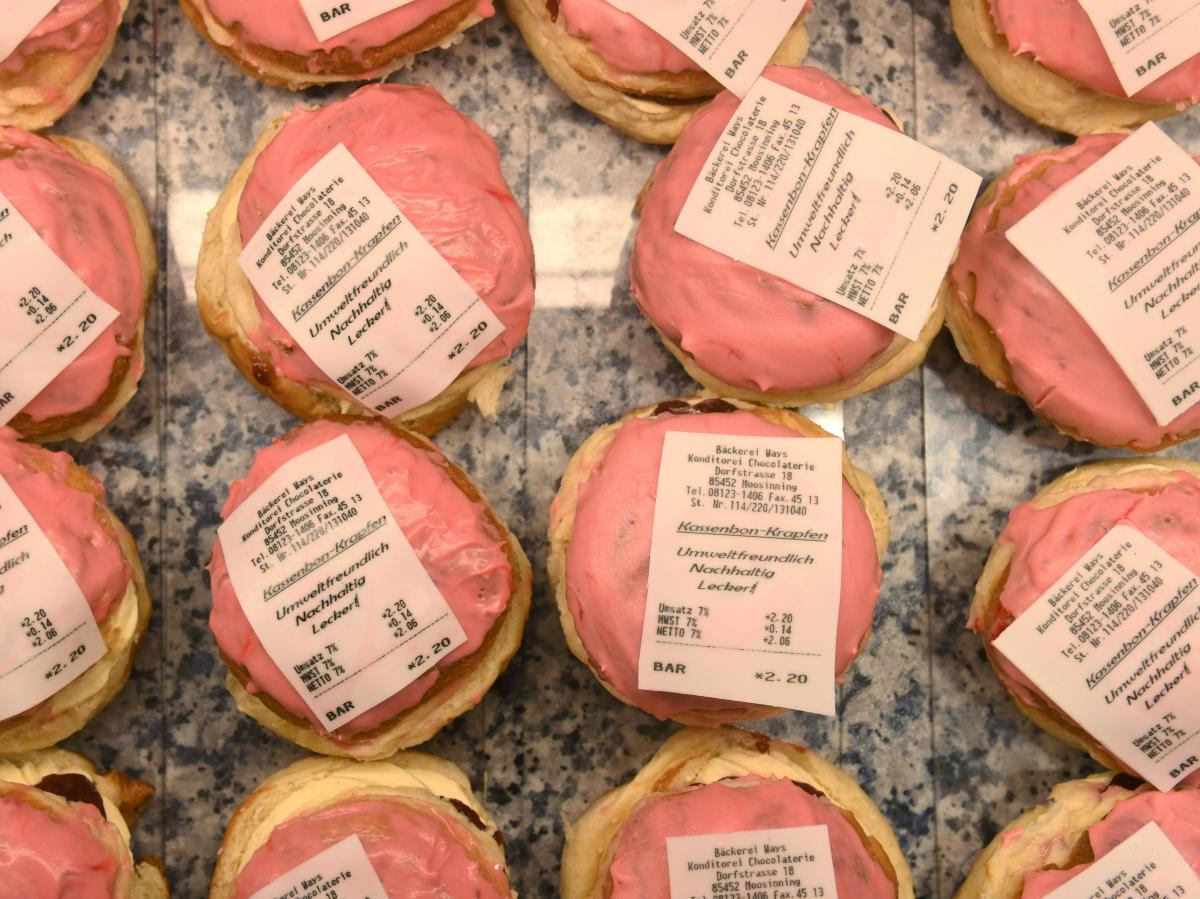 Doughnuts with a receipt made of fondant were on display last week at a bakery in Moosinning, Germany. These Kassenbon Krapfen — receipt doughnuts — are a reaction to Germany's new receipt law.