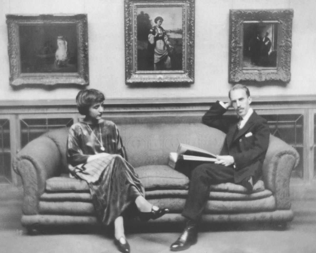 After the deaths of his father and brother in 1917 and 1918, Duncan Phillips found solace in art. His wife, Marjorie Phillips, was a painter. They opened The Phillips Collection in Washington, D.C., in 1921. They are pictured in the Main Gallery, circa 19