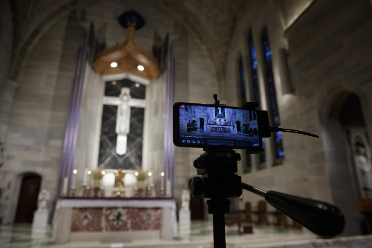 The Saint Ann Catholic Church in Washington, D.C., on Sunday night set up a livestream of a Eucharistic Adoration service on Sunday, March 29.