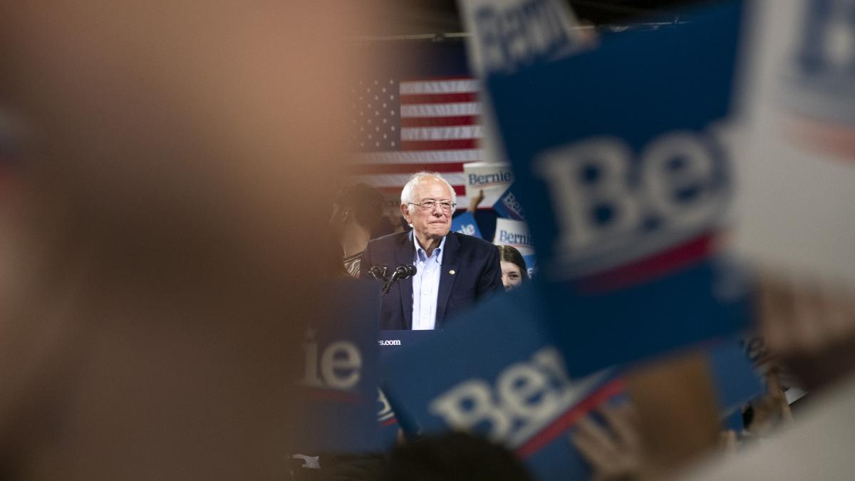 Sen. Bernie Sanders pauses while speaking during a primary night rally in Essex Junction, Vt., on Tuesday. Sanders has gotten more positive support from Russian media than any other Democratic candidate.
