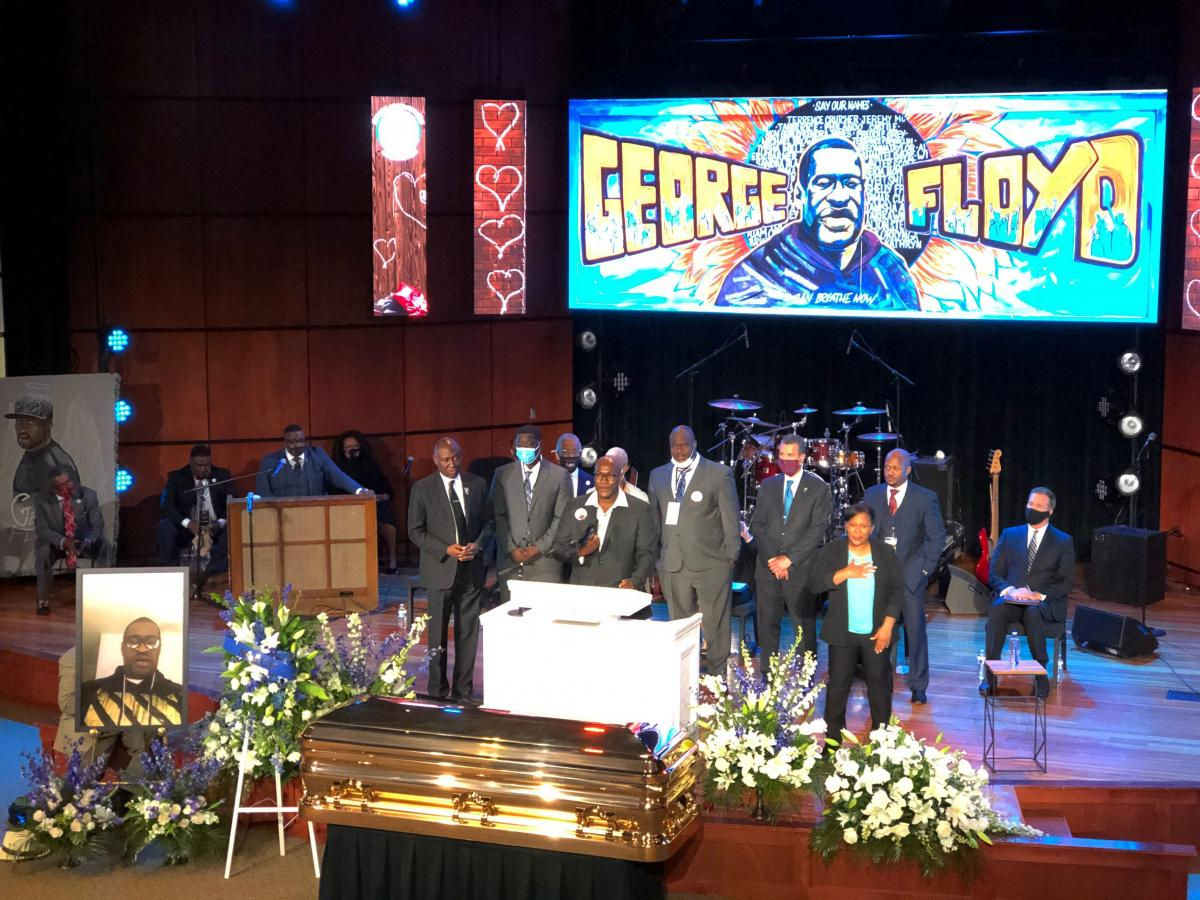 Members of George Floyd's family, including his brother Philonise Floyd, spoke during a memorial service for Floyd on June 4 at North Central University's Frank J. Lindquist Sanctuary in Minneapolis.