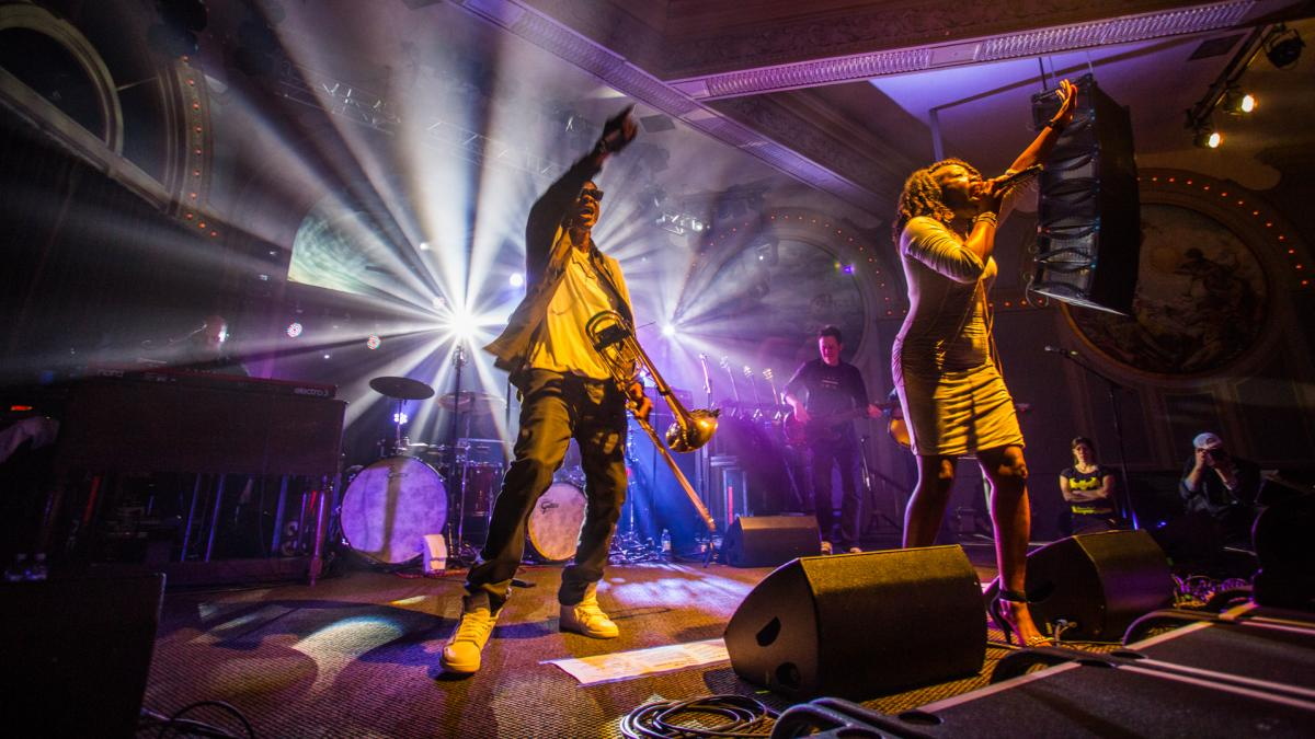 Galactic brings the bounce to Portland's Crystal Ballroom, which has one of the few remaining spring-loaded dance floors in the country.