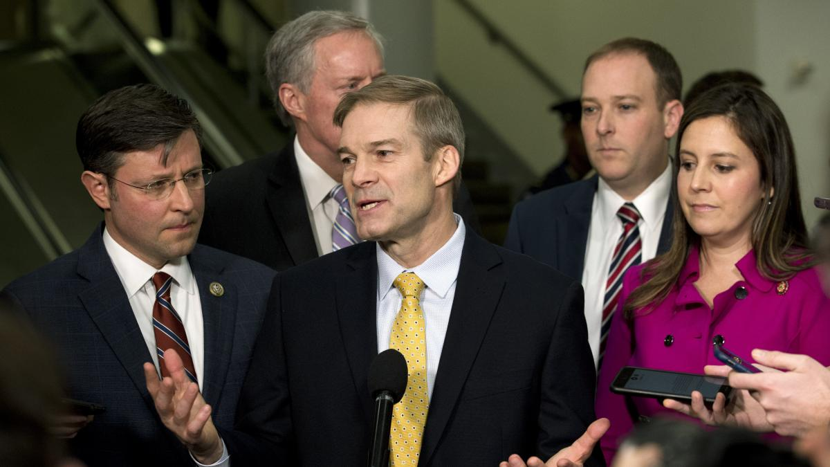 Rep. Jim Jordan, R-Ohio, accompanied by (from left) Rep. Mike Johnson, R-La., Rep. Mark Meadows, R-N.C., Rep. Lee Zeldin, R-N.Y., and Rep. Elise Stefanik, R-N.Y., speak to the media on Capitol Hill about the Senate impeachment trial.