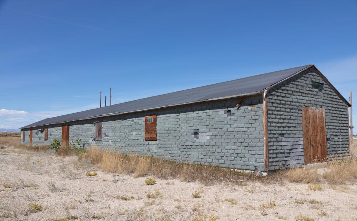 A barracks building at the Heart Mountain Relocation Center in Park County, Wyo., one of the camps built to confine people of Japanese descent during World War II.
