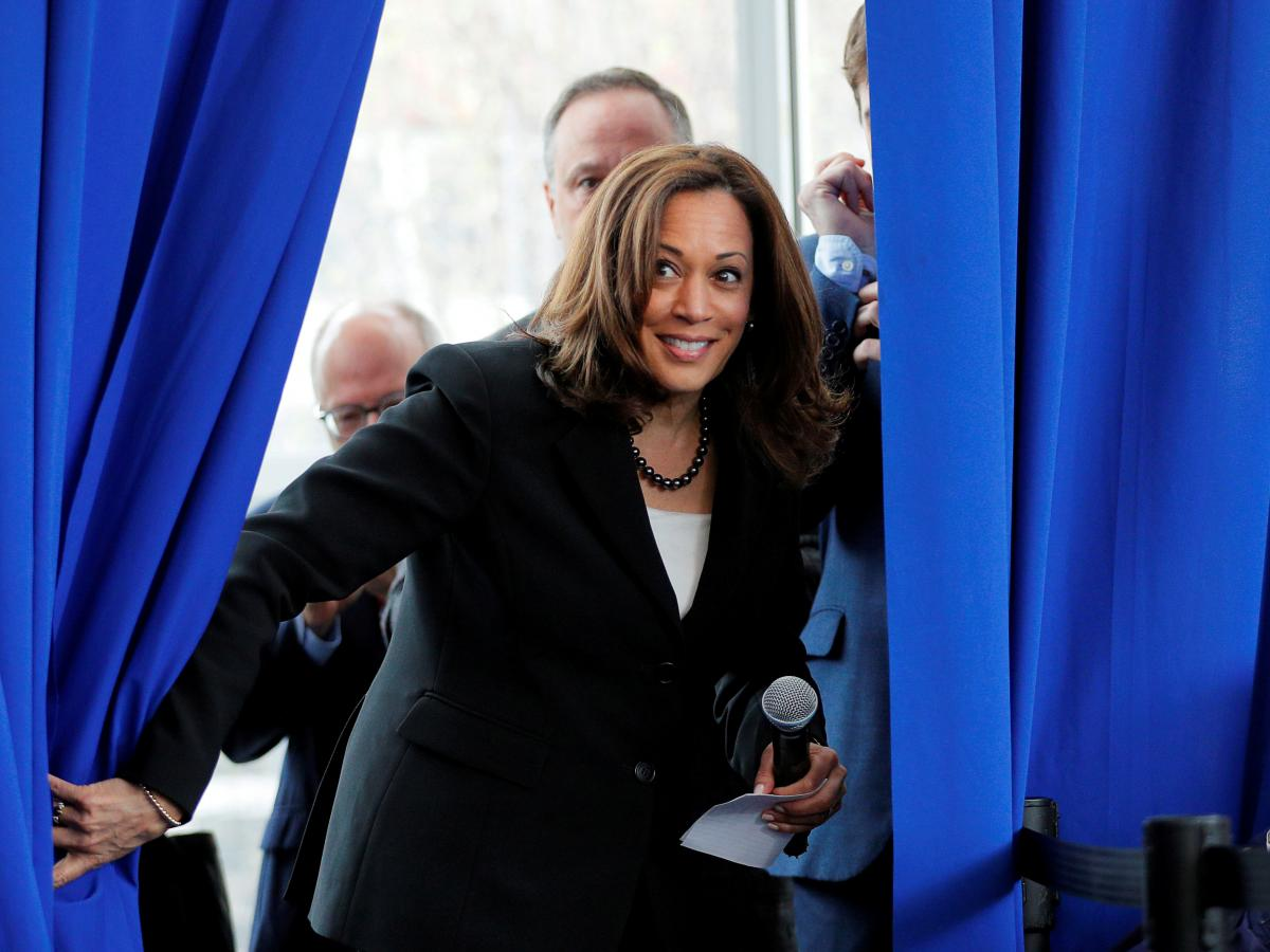 Sen. Kamala Harris, D-Calif., takes the stage at a campaign stop at Keene State College in Keene, N.H., in April 2019.