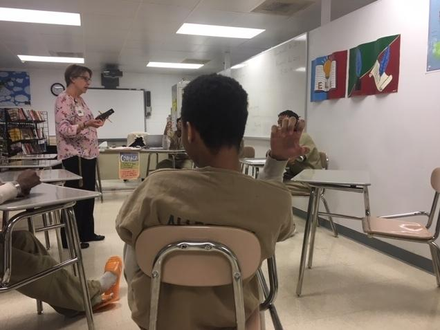 Kristine Autenreith teaches language arts to juveniles at the Allegheny County Jail. The students are in the jail because they're being tried as adults for crimes such as murder, rape and robbery.
