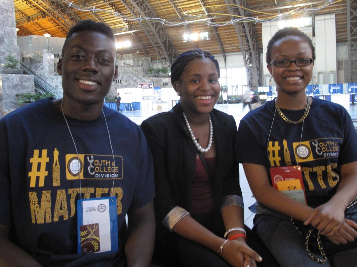 (From left to right) Student members of the NAACP Ekow Nana-Kweson, Trinity Towns and Anscia Brown.