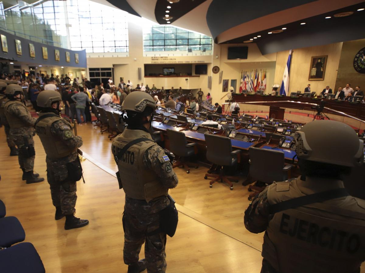 Armed Special Forces soldiers of the Salvadoran Army, following orders of President Nayib Bukele, enter El Salvador's congress during a vote on a security bill on Feb. 9.