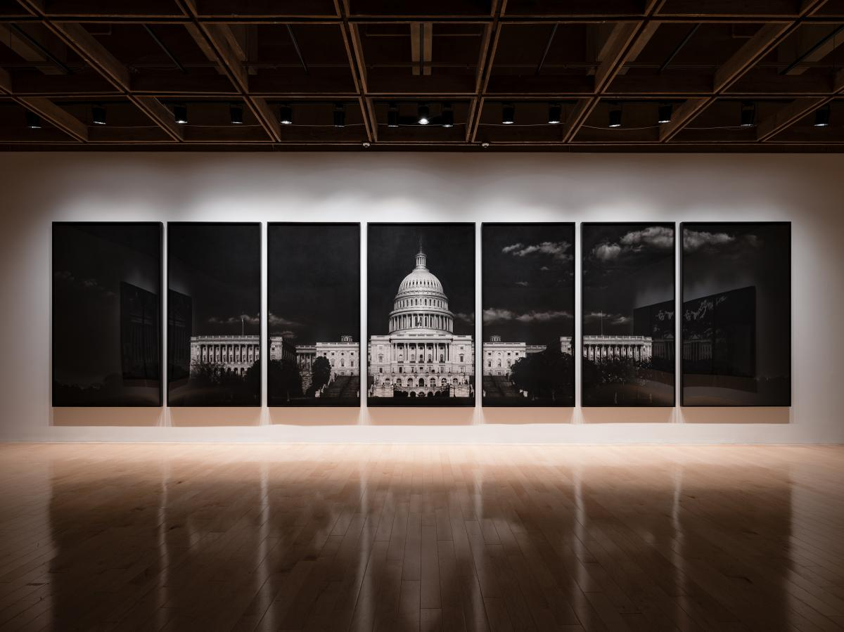 Robert Longo, Untitled (Capitol), 2012-2013. Charcoal on mounted paper. Installation image by Lance Gerber for the Palm Springs Art Museum's exhibition Storm of Hope: Law & Disorder.