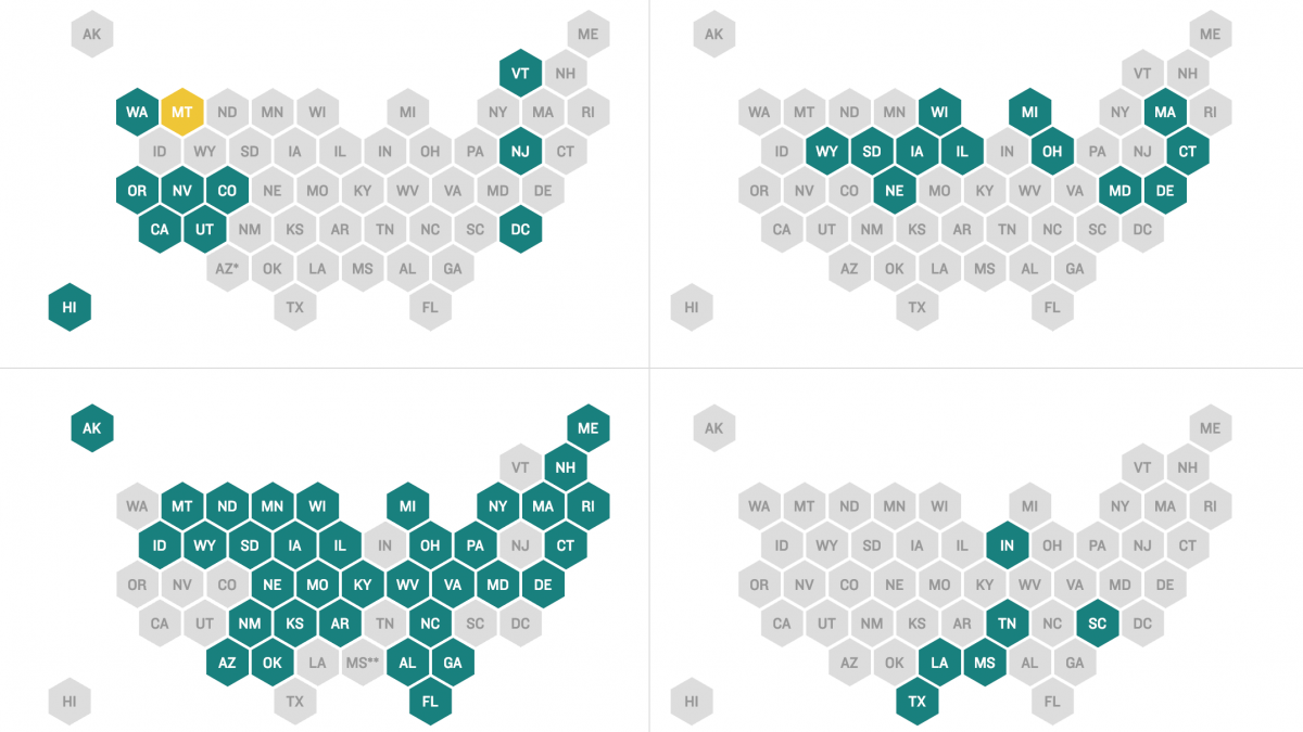 Series of maps showing absentee voting laws by state