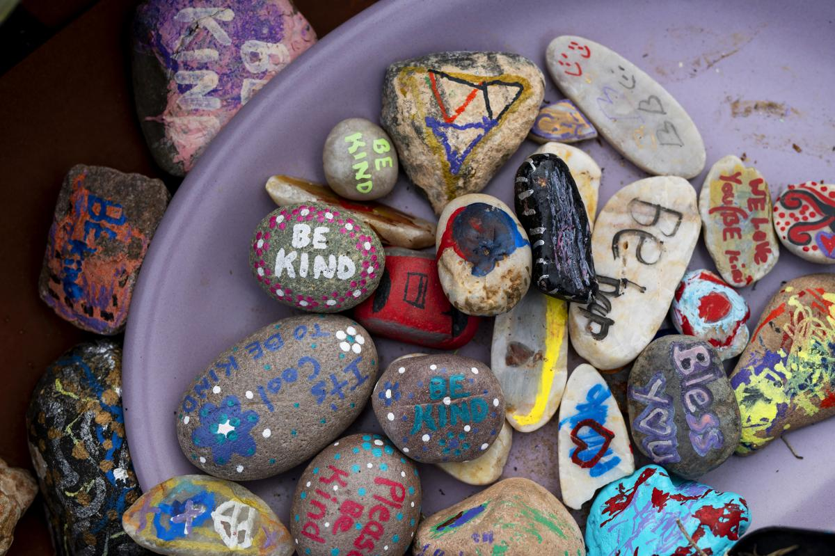 """""""Blessing rocks"""" with handwritten messages are free for the taking outside the Arivaca Community Center."""