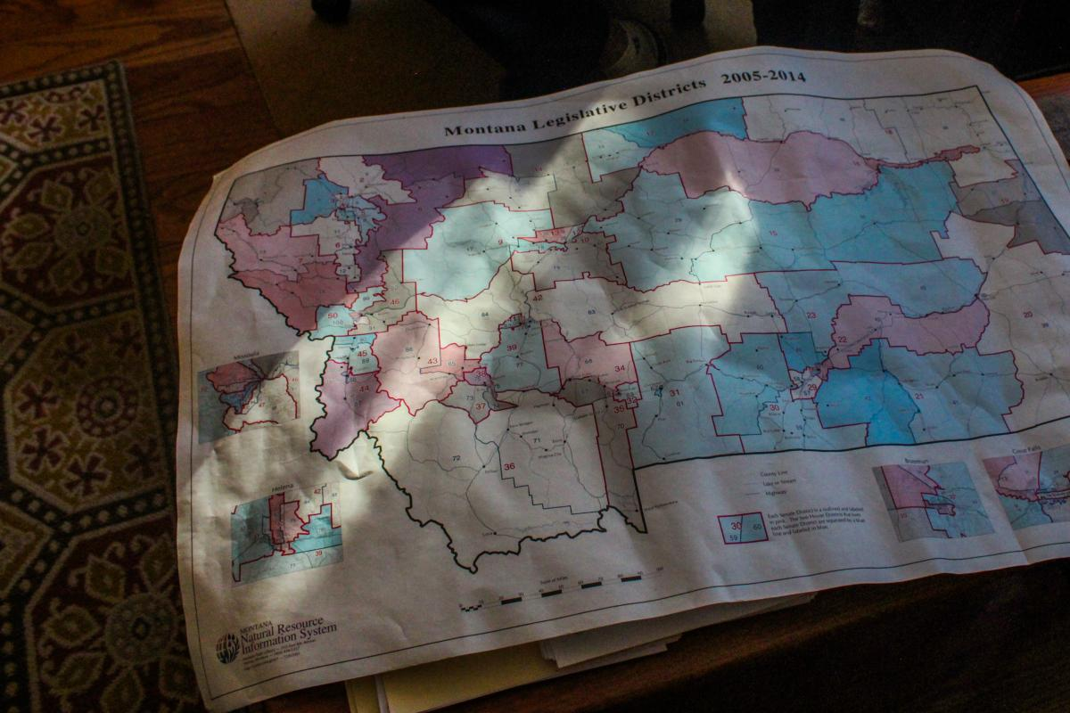 """Joe Lamson, a Democrat on Montana's districting commission, is particularly fond of this map showing the state's legislative districts as drawn in the early 2000s. Lamson says Montana historian Harry Fritz called it, """"The best map drawn in Montana since L"""