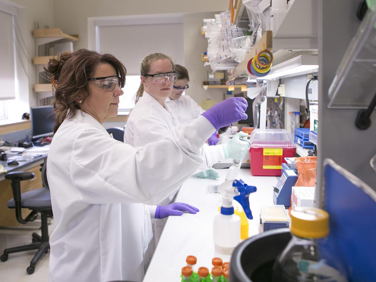 Cat Lutz (far left) in her lab at the Jackson Laboratory Mouse Repository.