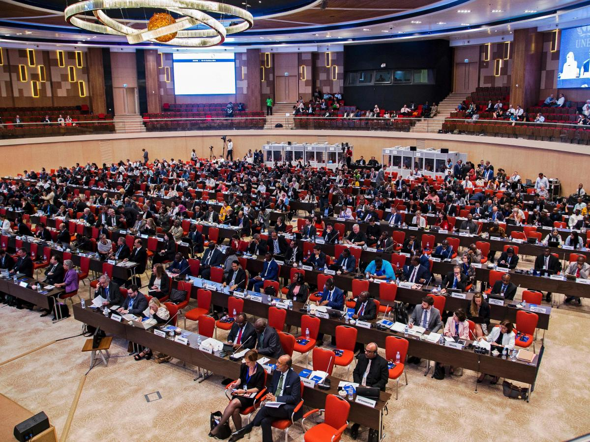 Delegates attend the official opening of the 28th meeting of the Parties to the Montreal Protocol in Kigali on October 13, 2016. Envoys from nearly 200 nations are in the Rwandan capital to thrash out an agreement to phase out hydrofluorocarbons (HFCs).