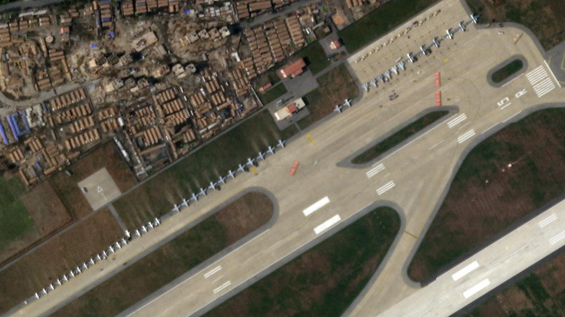 Satellite imagery from Nov. 13 shows rows of airplanes in Wonsan, North Korea.