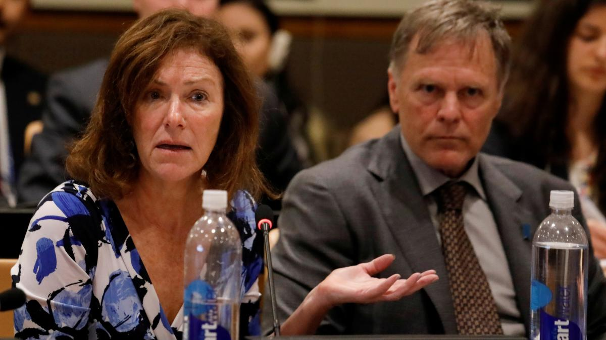 "Cindy and Fred Warmbier, parents of Otto Warmbier, released a statement saying, ""No excuses or lavish praise can change"" the fact that they hold North Korean leader Kim Jong Un responsible for their son's death. The Warmbiers are seen here at the U.N., wh"
