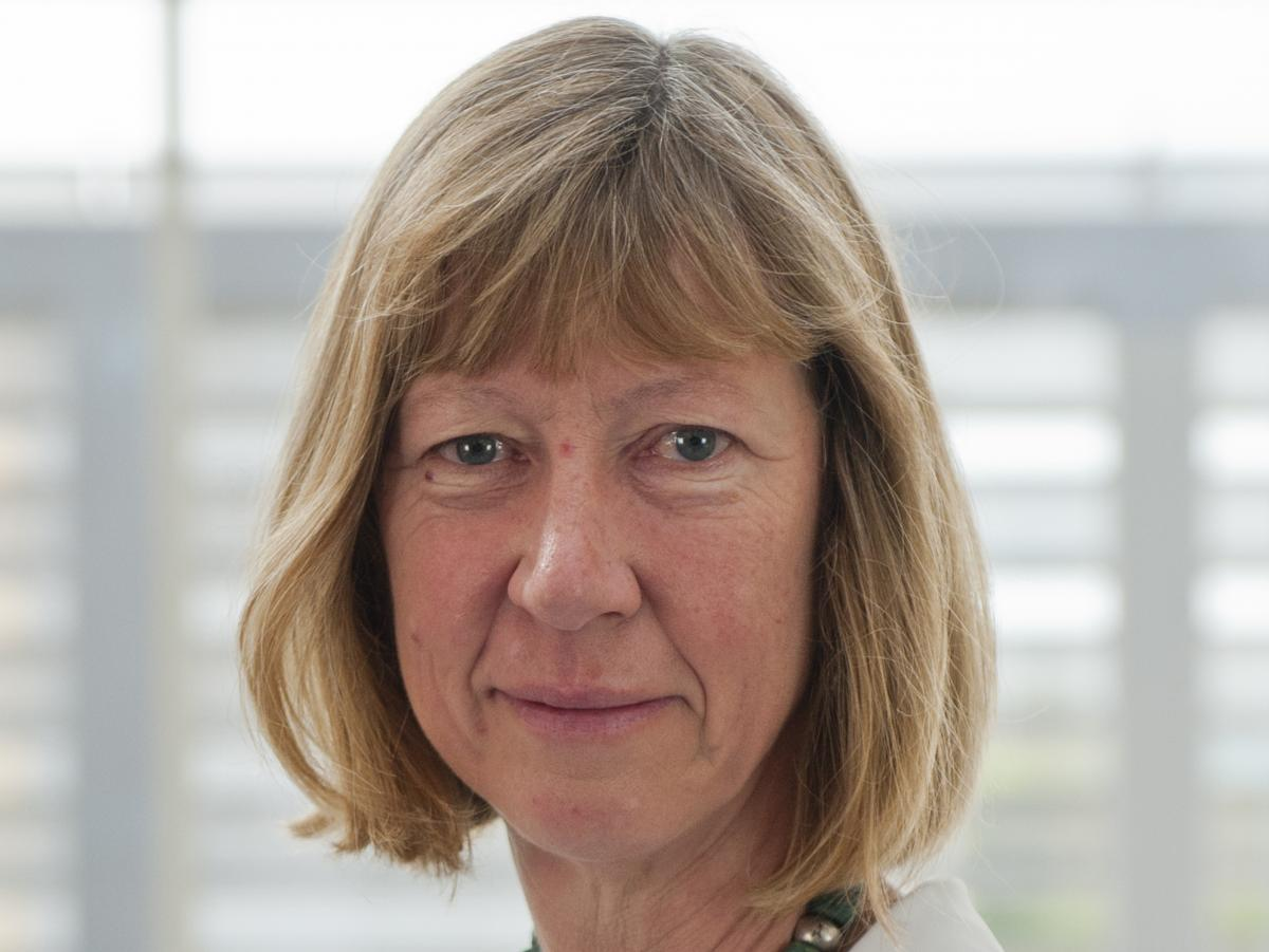 Penny Lawrence at Oxfam House in Oxford, in 2016. Lawrence, who was the U.K. charity's deputy chief executive, stepped down Monday amid a growing scandal over aid workers who paid for sex in Haiti and Chad.