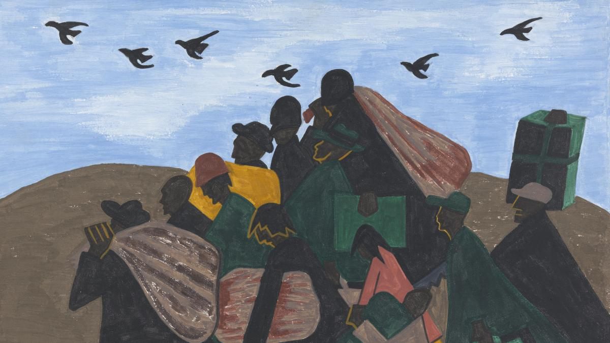 """Each of the 60 paintings in Jacob Lawrence's Great Migration series is accompanied with a caption. For this panel, he wrote in 1941: """"In every town Negroes were leaving by the hundreds to go North and enter into Northern industry."""""""