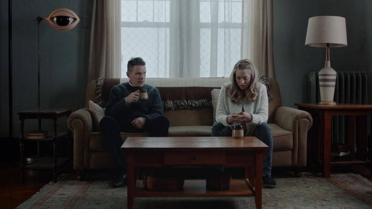 Ethan Hawke stars as as a troubled minister who counsels a parishioner (Amanda Seyfried) in First Reformed.