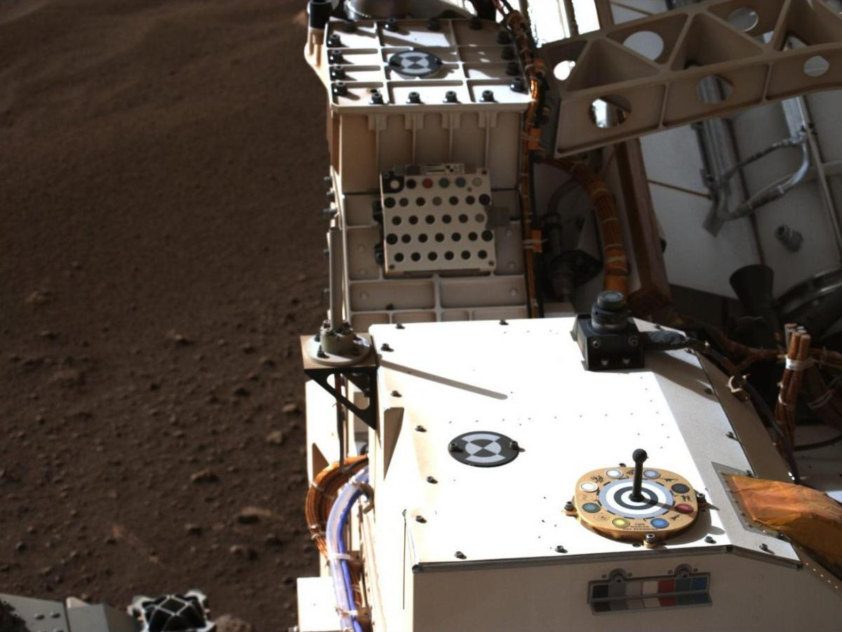 This photo of the Rover includes a view of color chips used to calibrate the images from Mars.