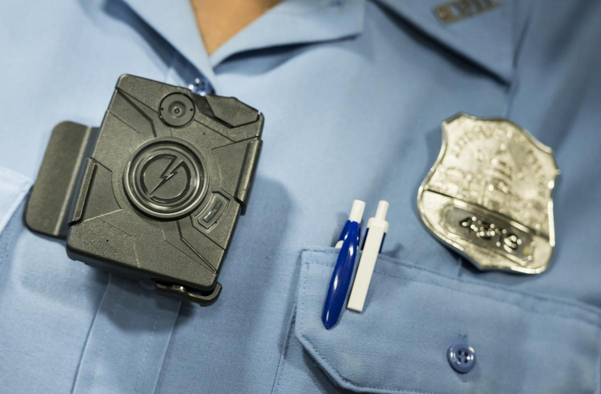A body camera from Taser is seen during a press conference on Sept. 24, 2014 in Washington, DC.
