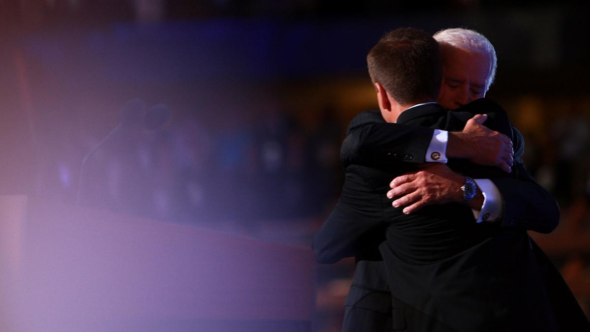 Joe Biden and his son, the late Beau Biden, embrace at the 2008 Democratic National Convention in Denver. Beau Biden delivered the keynote address that year. He died seven years later from brain cancer.