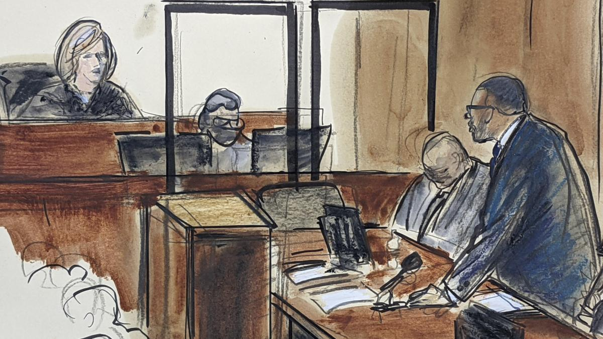 A courtroom sketch shows R. Kelly telling Judge Ann M. Donnelly he won't take the stand in his own defense.