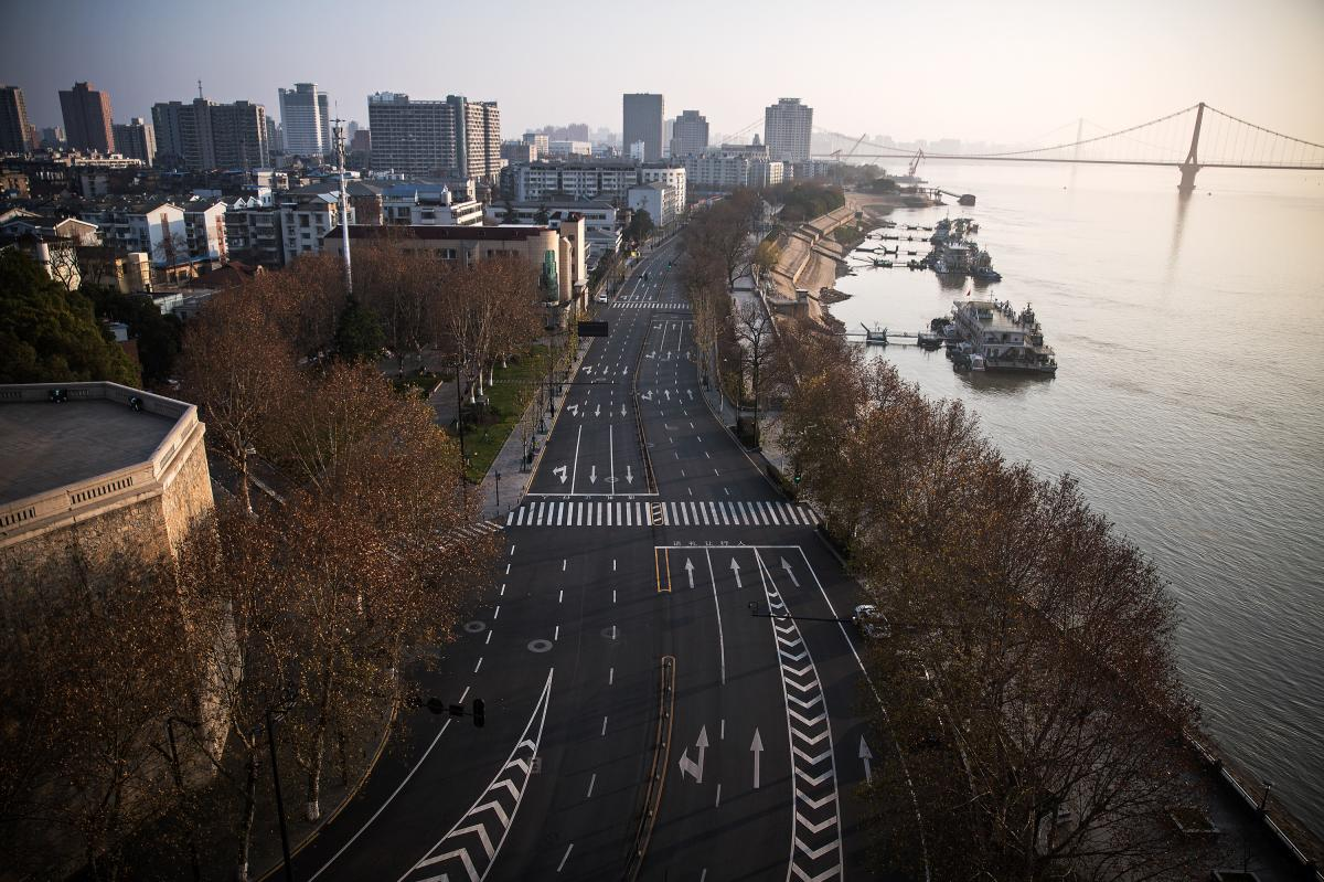 Roads are empty in Wuhan, China, the epicenter of the coronavirus outbreak, where a strict lockdown is in effect.
