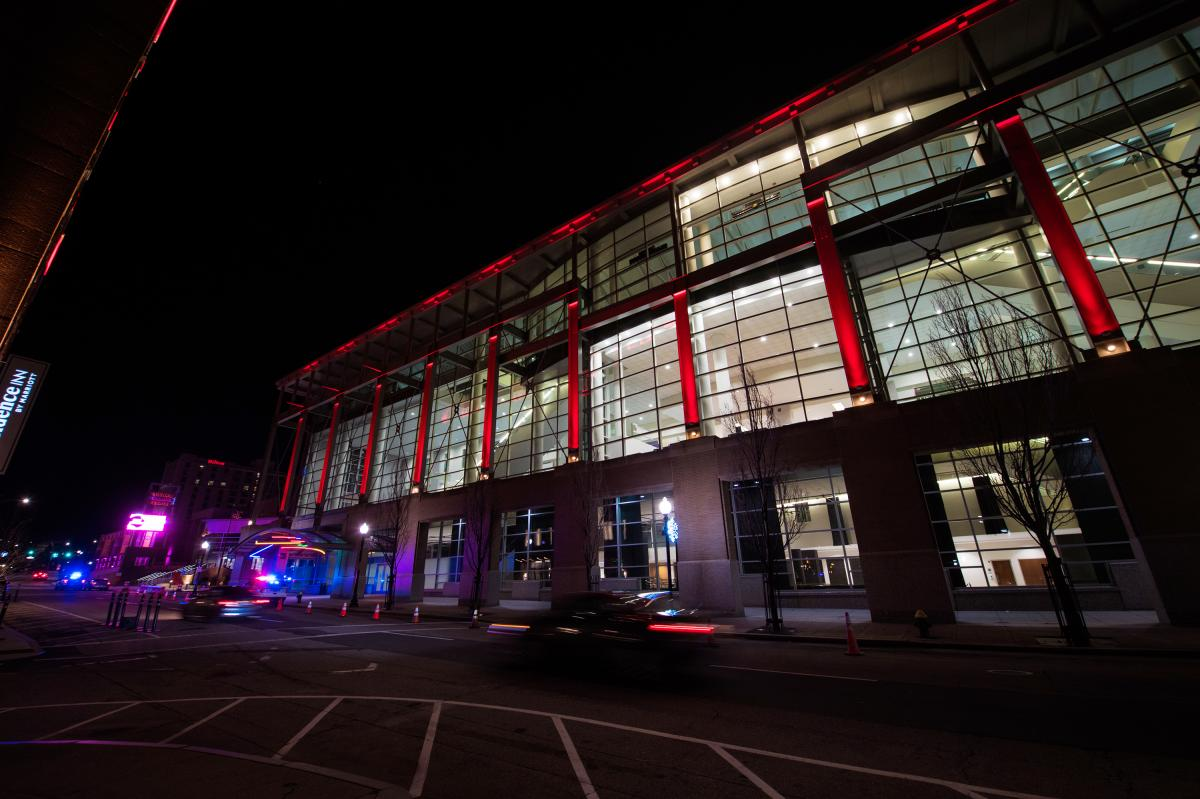 The Rhode Island Convention Center in downtown Providence has been converted into a field hospital which opened this week to care for an overflow of patients with COVID-19.