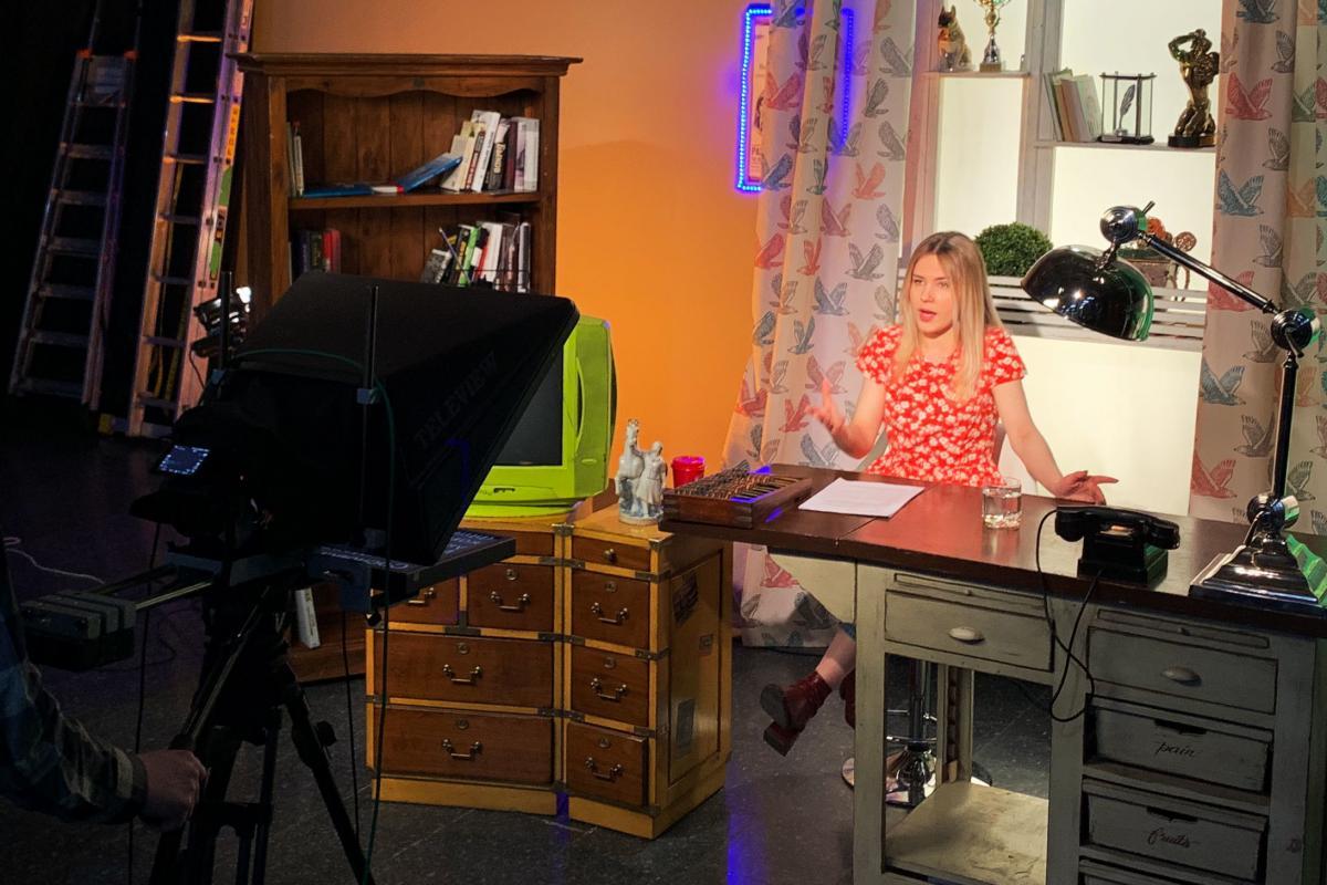 Journalist Masha Borzunova during a taping of the show Fake News in TV Rain's Moscow studios.