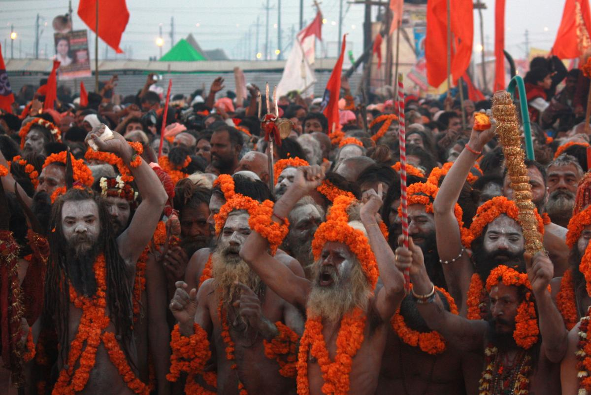 The Kumbh Mela is one of the rare times that sadhu nagas make themselves known. Many of these ascetics live in forests and villages, and have little contact with ordinary Indians. Their population is dwindling, as young devotees prefer not to pursue a lif
