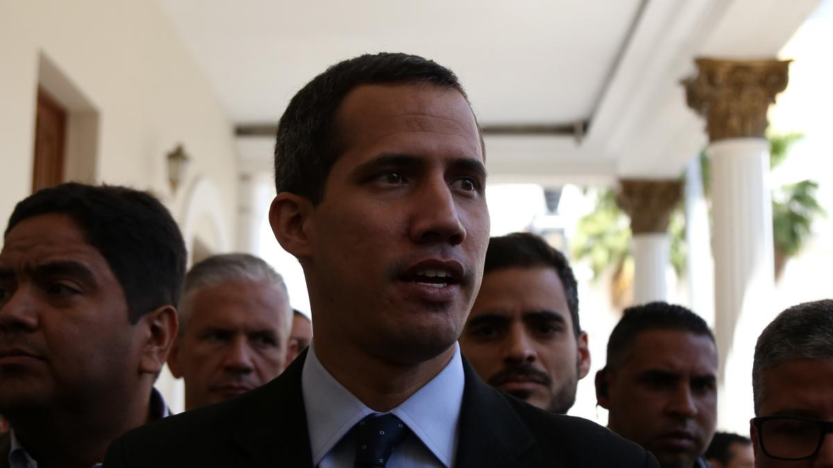 Venezuelan opposition leader Juan Guaidó speaks to the National Assembly on Tuesday in Caracas.
