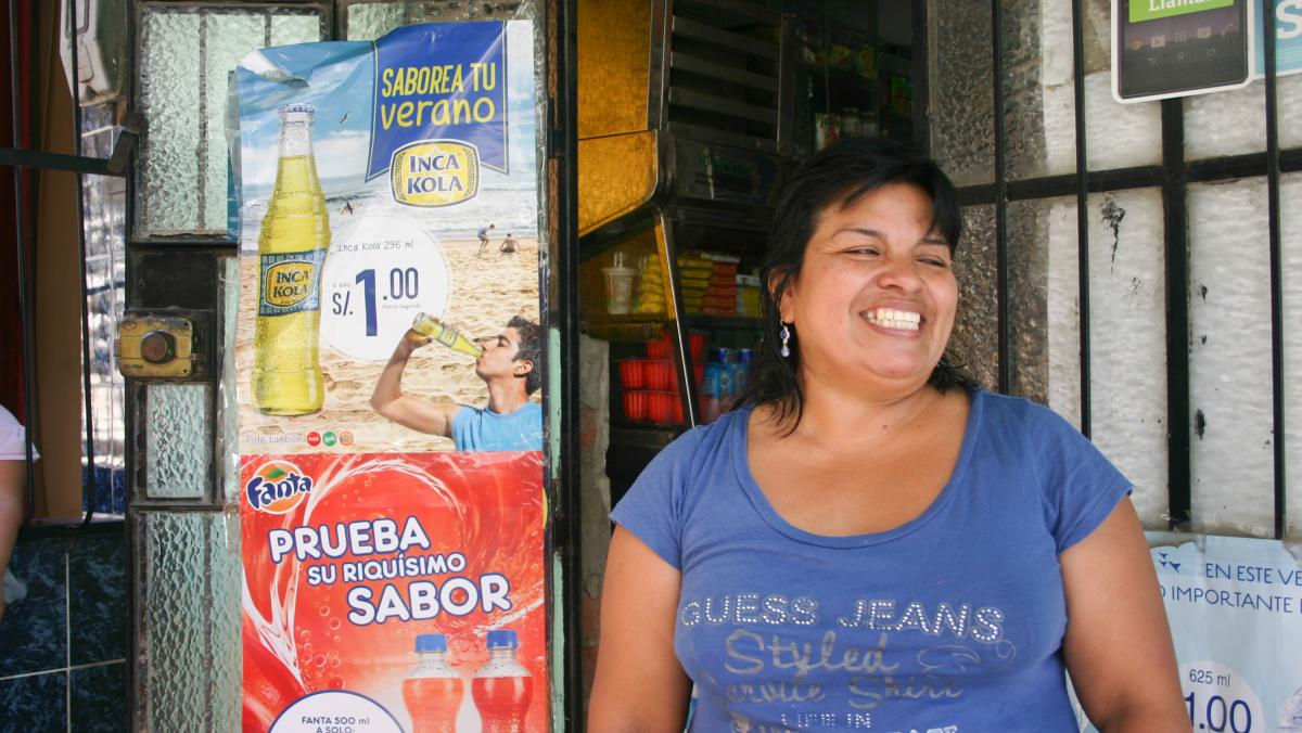 "Maria Carmen Castro, 46, of Lima, Peru, is a survivor of MDR-TB — multidrug-resistant tuberculosis. Partners In Health treated her and loaned her money to open a small store. ""Because of my TB and thanks to God and Partners In Health, now I have my own"