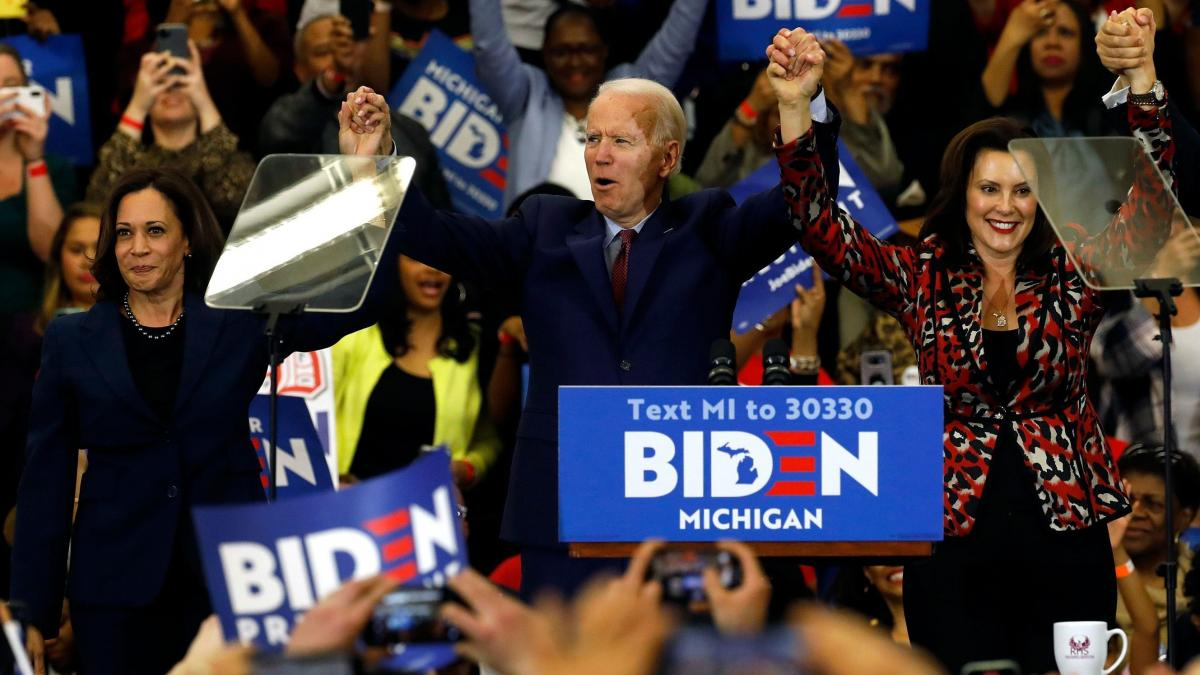 California Sen. Kamala Harris, left, and Michigan Gov. Gretchen Whitmer are two potential running mates for presumptive Democratic presidential nominee Joe Biden, a former vice president himself.