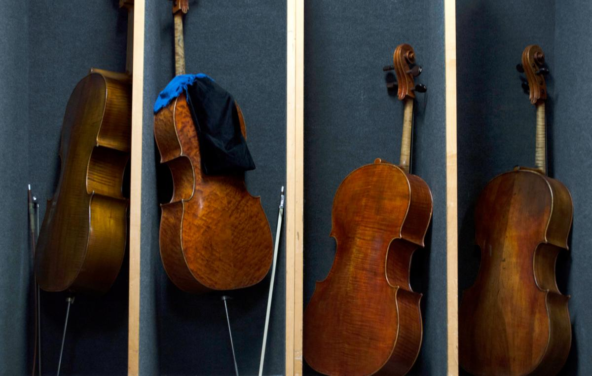 Cellos are lined up backstage at the Chicago Symphony Orchestra before a Nov. 8 rehearsal of Schubert's Ninth Symphony. The CITES Rosewood regulations have made some musicians apprehensive about taking instruments containing the wood across international