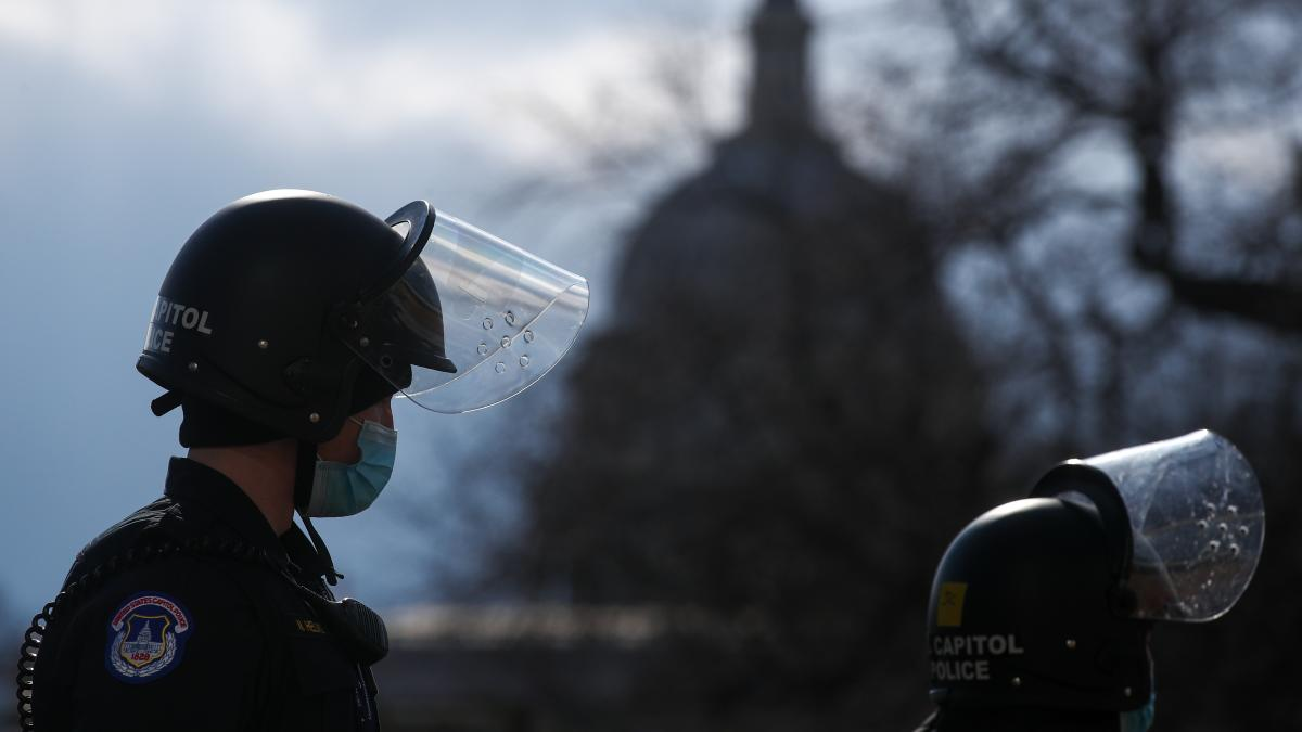 A U.S. Capitol Police officer stands guard outside the Capitol ahead of the inauguration for President Biden on Jan. 20.