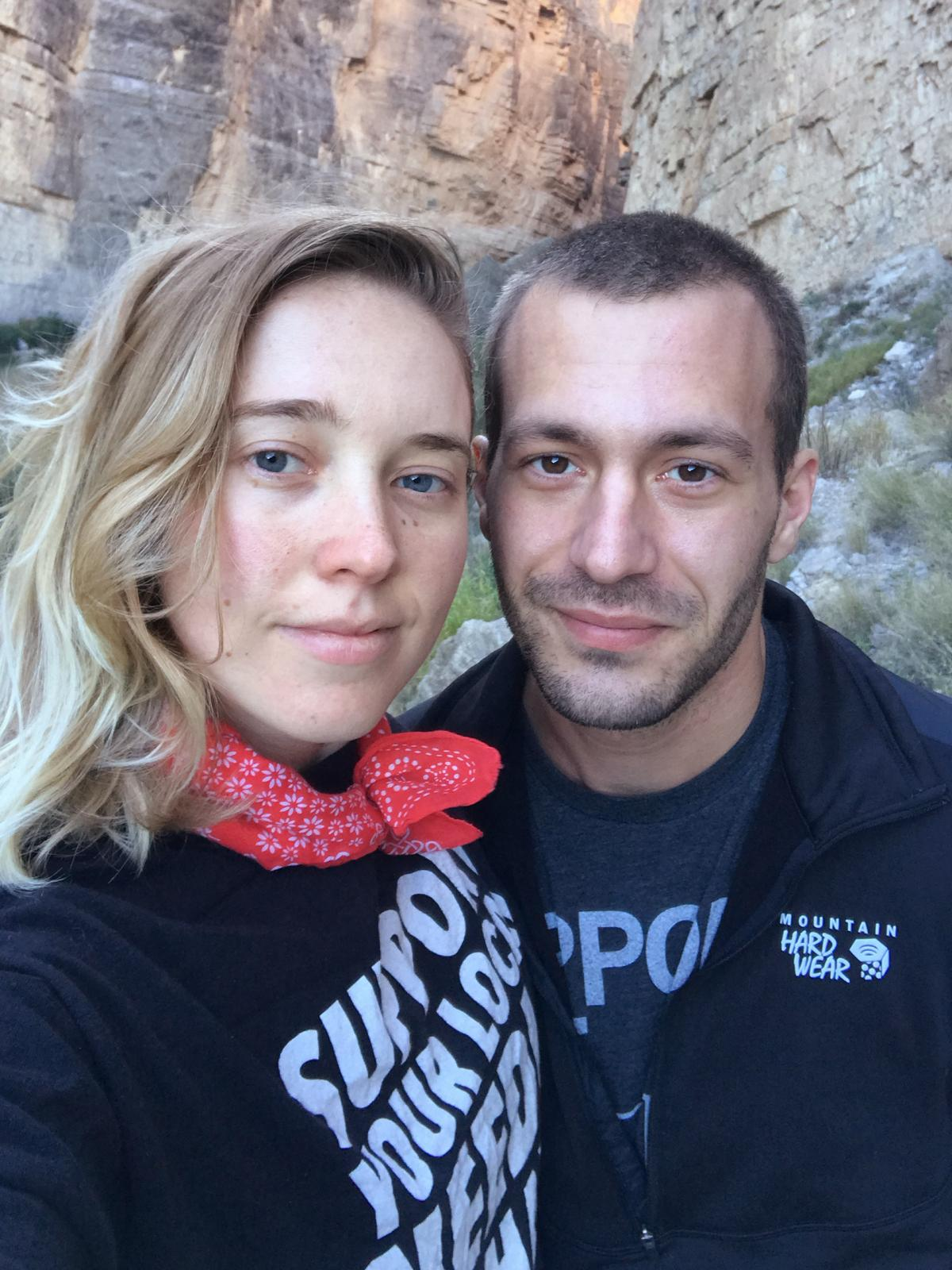 Sarah Ziegenhorn and Andy Beeler shared a selfie while hiking in Texas' Big Bend National Park in December 2018. Beeler died of an opioid overdose last March. Ziegenhorn traces his death to the many obstacles to medical care that Beeler experienced while
