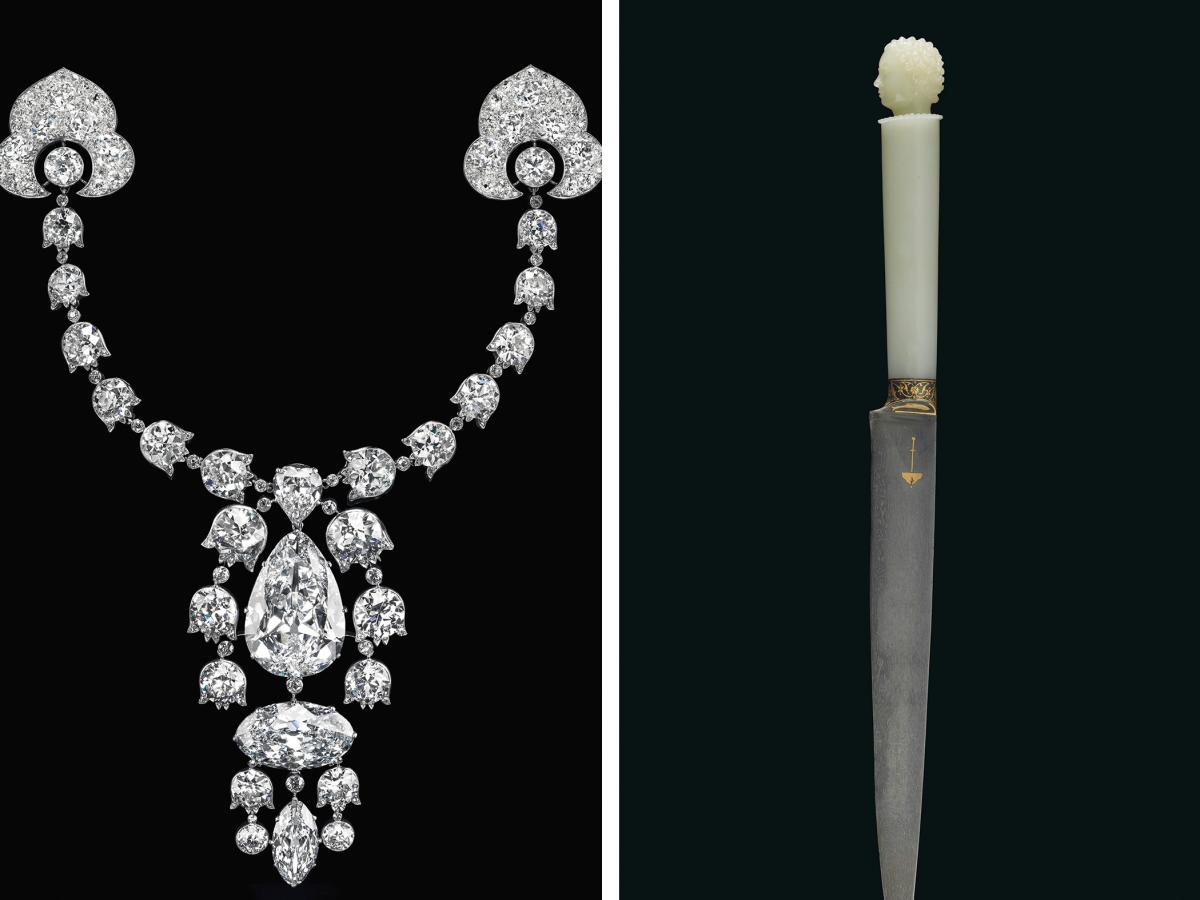 Diamond brooch with five different cuts of diamonds (left), Shah Jahan's dagger and The Mirror of Paradise is a 52.58-carat diamond ring are part of an auction expected to fetch more than $115 million.