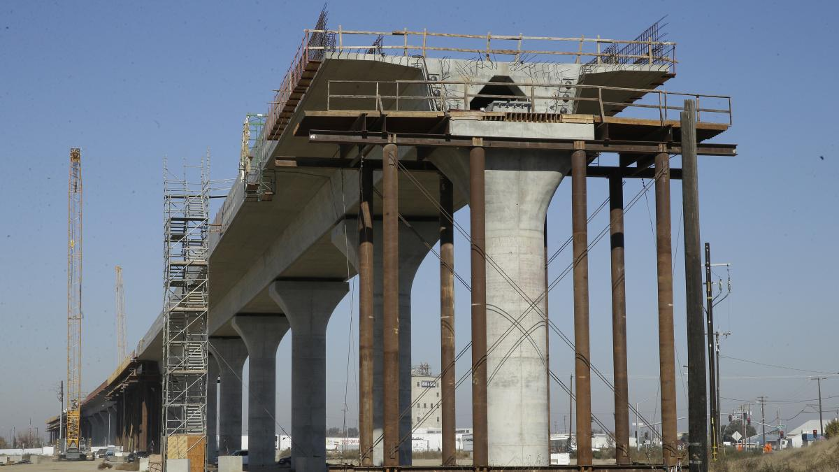 One of the elevated sections of the high-speed rail under construction in Fresno, Calif., seen in 2017. The Trump administration announced on Thursday that they will pull federal funding from the multi-billion dollar project.