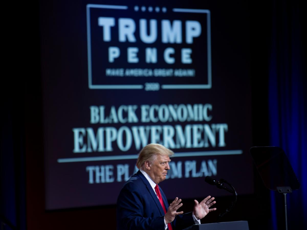 President Trump speaks about his campaign promises for Black voters at an event Friday in Atlanta.
