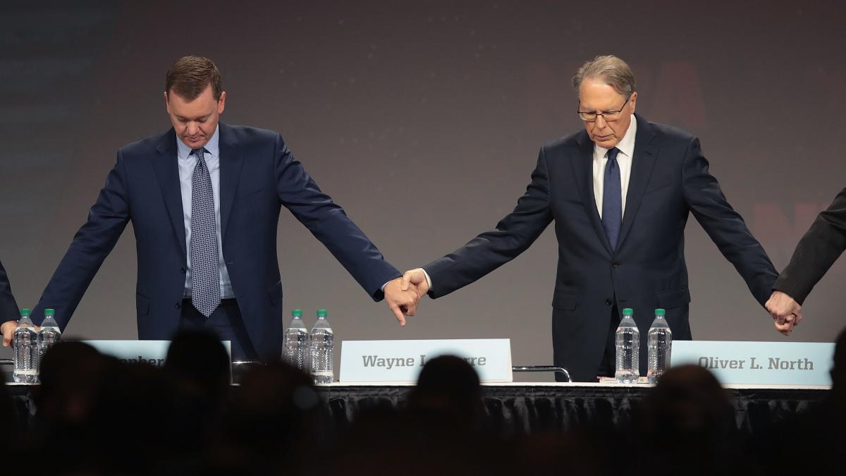 Chris Cox (L), the NRA's chief lobbyist, with CEO Wayne LaPierre at the annual meeting in Indiana in April.
