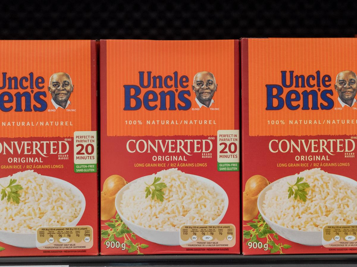 Boxes of Uncle Ben Converted Rice on a store shelf. Mars, Incorporated announced on Wednesday that it is changing the name of the brand to Ben's Original.