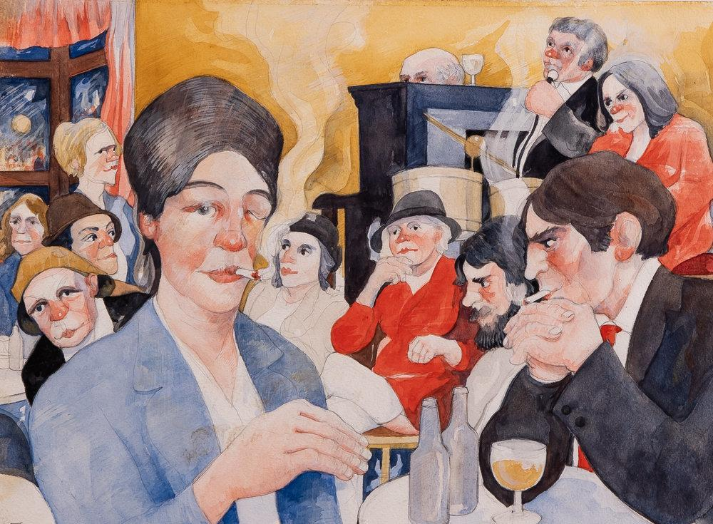 Eric Tucker painted the everyday people in his hometown of Warrington, England — like this smoker in a pub.