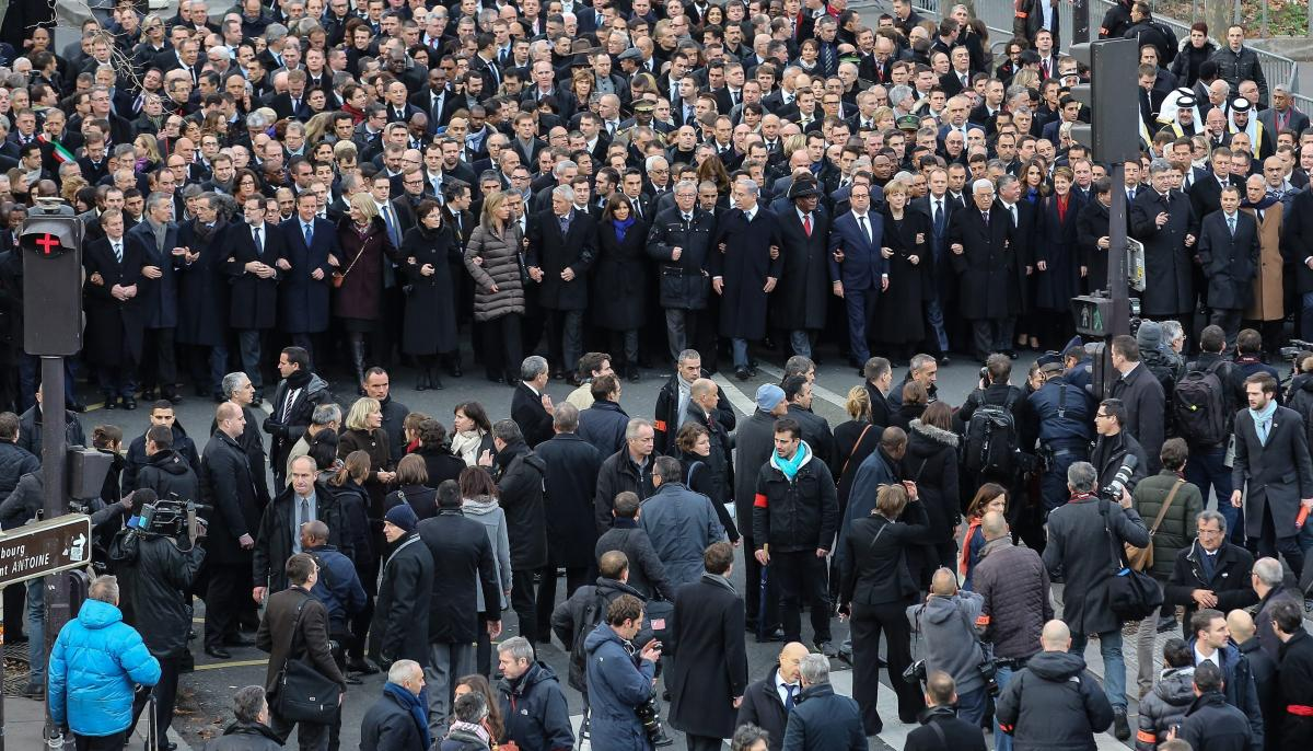 World leaders march in Paris on Sunday to honor victims of the attacks in France. Some of those who have been critical of the attacks have a mixed record on press freedom and human rights at home.