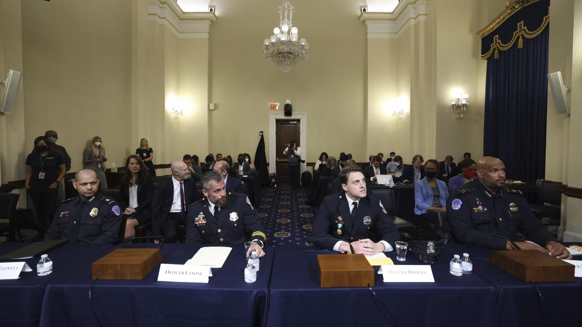 From left: U.S. Capitol Police officer Aquilino Gonell, Washington Metropolitan Police Department officer Michael Fanone, Washington Metropolitan Police Department officer Daniel Hodges and U.S. Capitol Police officer Harry Dunn arrive to testify at the H