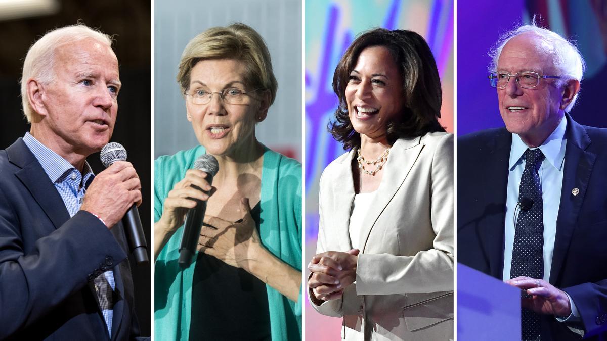 Former Vice President Joe Biden (left), Sen. Elizabeth Warren, Sen. Kamala Harris and Sen. Bernie Sanders are among the Democratic candidates running for president.