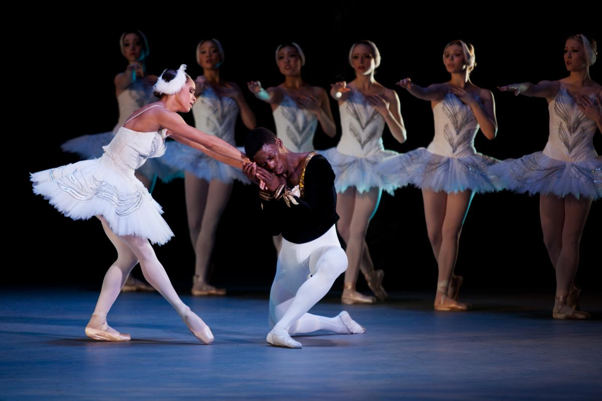 Misty Copeland (left) and Brooklyn Mack play Odette/Odile and Prince Siegfried in this year's Washington Ballet production of Swan Lake. It is the first time that two black dancers star in Swan Lake in a major American production.