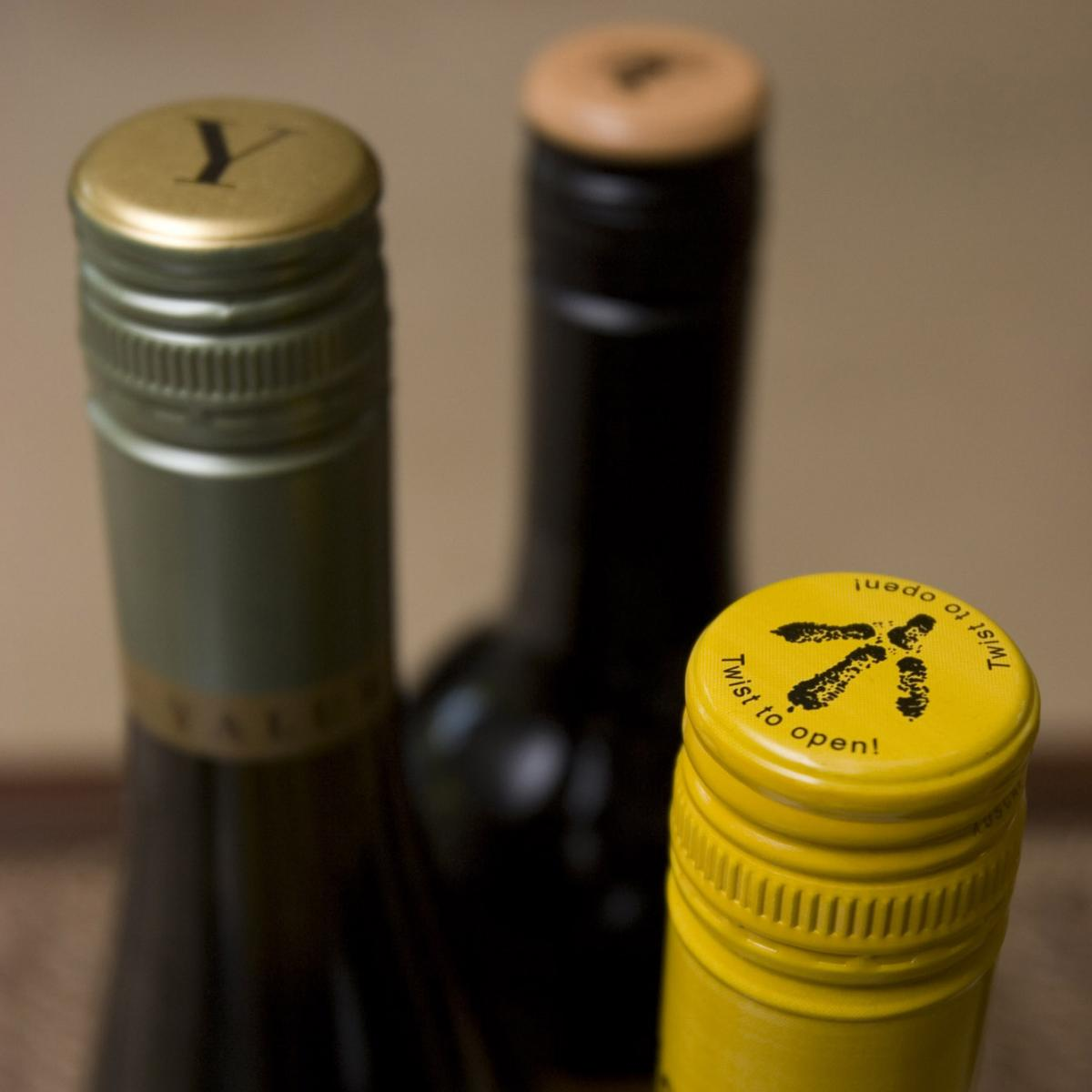 A variety of Australian wines with metal screwcaps are seen in a 2007 photo.